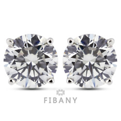 0.45 Carat D Si1 Round Cut Earth Mined Certified Diamonds 14k White Gold Studs