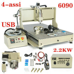 4axis 6090 Cnc Router Engraver 2.2kw + Vfd Spindle Milling Machine Engraving Usb