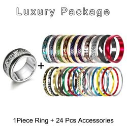 Fashion Rings Jewelry Box Accessory Stackable Stainless Steel Trendy Ring Sets