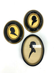 Vintage Lot Of 3 Silhouettes / 2 Chalkware And 1 Antique Oval Framed Hand Cut