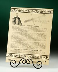 Genuine Certificate Of Authenticity Coa United Cutlery Anduril Sword Of Aragorn