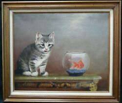 Frederick J. Garner 1900- Original Oil On Canvas Painting Cat And Fish