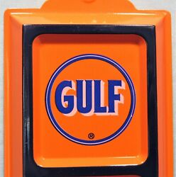 Gulf Oil Old Logo Embossed Tin Advertising Thermometer