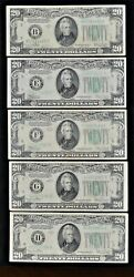 5 1934 20 Federal Reserve Notes 5 Different Federal Reserve Banks