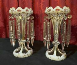 Pair Of Antique Victorian Czech Bohemian Style Cut Back Mantle Lusters W Prisms