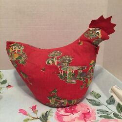 VINTAGE CHICKEN LARGE PIN CUSHION RED 7X10quot; HANDMADE