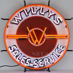 Jeep Willy's Sales Service Neon Sign Jeep Willys 5jeepw W/ Free Shipping