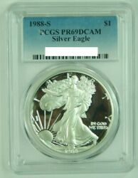 1988 S Proof American Silver Eagle Ase Pcgs Pr69 Dcam 1 Oz 1 Ounce Dollar 1988-s