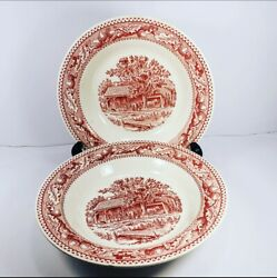 Vintage 1965 Royal Ironstone Memory Lane Red And White Acorn 2 Soup Serving