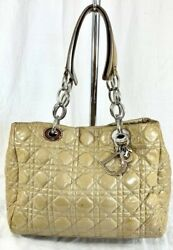 Christian Dior Authentic Lady Cannage Tan Patent Leather Satchel Made In Italy