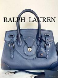 Ricky Hand Shoulder Bag Navy Silver Leather Womenand039s Rare From Japan