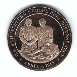 1949 Nato North Atlantic Pact Signed U.s. Europe Bronze Coin Medal Medallion