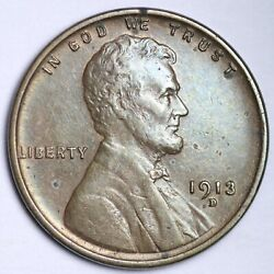 1913-d Lincoln Wheat Cent Penny Choice Unc Free Shipping E138 Rmq