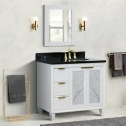 Trento 43 Solid Wood Vanity With Right Oval Sink In White/black