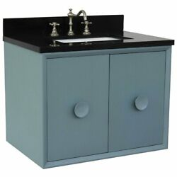 Stora Solid Wood Wall Mount Rectangle Sink Vanity With Black Top In Blue