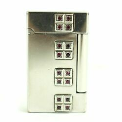 S.t.dupont Gas Lighter Skyandfire Silver Red Rectangle Lg2410