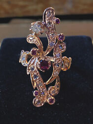 Rose Gold Authentic Antique Victorian Diamond And Ruby Openwork Ring Size 7