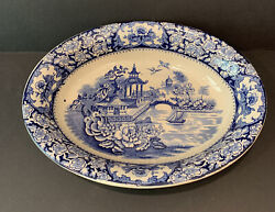 Vintage Olde Alton Ware England Blue And White Chinese Pagoda Plate Saucer