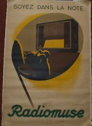 French Poster 1941 Radio Advertisement Cloth Backed By Edouard Courchinoux
