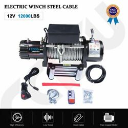 New 12000lbs 12v Electric Winch For Truck Trailer Pickup Suv Wireless Remote
