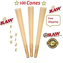 Authentic Raw King Size Pre Rolled Cones W/filter Tips 100 Cones Free Shipping