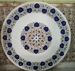 36 White Marble Table Top Coffee Dining Inlay Lapis Antique Mosaic Home Decor