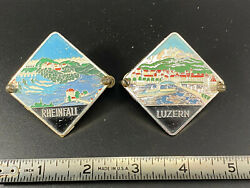 Vintage Pair Of Car Grill Badges Metal Collectible Switzerland Scenes Used