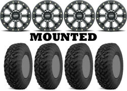 Kit 4 Fuel Gripper Utv Tires 32x10-14 On Itp Velocity Beadlock Black Narrow Hp1k