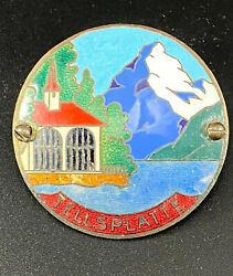 Besson Vintage Car Grill Badge Metal Collectible Switzerland Scene Used
