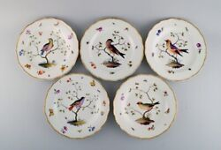 Five Antique Meissen Dinner Plates In Hand-painted Porcelain With Birds. 19th C.