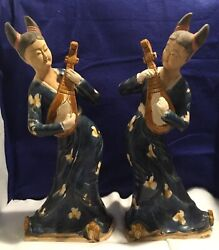 Antique Oriental Ladies Playing Instruments Clay Painted Figurines Statues