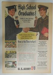 Us Army Recruiting Ad High School Graduates Join From 1951 Size 11 X 15 Inches