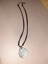 Silpada Sterling Silver Abalone Shell Necklace Pendant Black Leather Cord Adjust