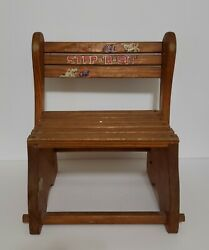 Vintage Children's Wooden Chair Step Stool Combo Sit And Stand Sit-r-step
