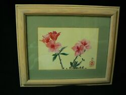 Chinese Watercolor Cherry Blossom Art Painting Frame Matted Artist Signed Stamp