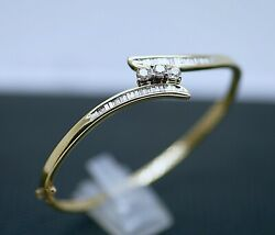 Vintage Jewelry Solid Gold Bangle Set With Natural Diamonds Antique Jewellery