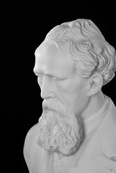 Marble Bust Of Charles Dickens Classical Sculpture. Author Literature Gift.