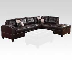 Espresso Bonded Leather Sectional Sofa Couch Sofa And Chaise Plush Seat Furniture