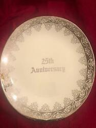 New 25th Anniversary Plate 22k Gold Hand Decorated Eastern China Vintage M.b.a