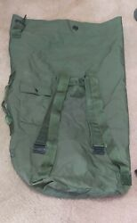 Us Military Army Duffle Sea Bag, Od Nylon Top Load 2 Carry Strap Large Gc, New
