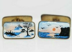 Norne Gilt Silver 2 Sided Summer And Winter Enamel Cufflinks From Norway