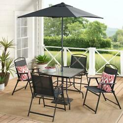 Outdoor Dining Set Patio Backyard With Table 4 Chairs Umbrella Furniture Black
