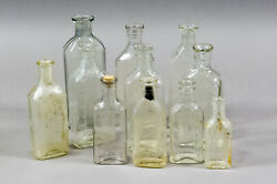 11 Antique Graduated 1-4 Oz. Cough Syrup Medicine Bottles - 1800's, Early 1900's