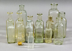 16 Antique Square, Clear Extract, Sauce And Medicine Bottles - 1800's Hire's, Hp