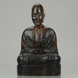 20th Century Hardwood Heavy Chinese Carved Wood Statue Of A Buddha