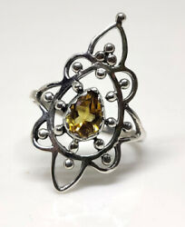 925 Solid Sterling Silver Natural Citrine Pear Cut Henna Design Ring Size 6