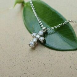 0.25 Ct Round Cut Diamond Cross Pendant With Chain 14k White Gold Over