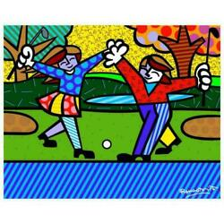 Romero Britto New Golfer Hand Signed Giclee On Canvas