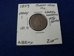 1859 Indian Head Cent Copper Nickel Antique Vintage Coin Ms+ Penny