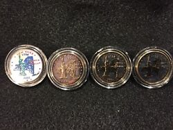 2001 New York State Quarters U.s. Mint Coins 24k Gold Plated / Painted --3451